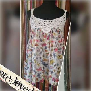 White butterfly printed tunic w/ knitted straps