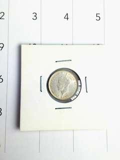 1941 malaya/straits settlement 10 cent silver coin