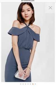 Brand New Love Bonito Off Shoulder Midi Dress in Blue