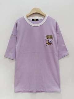 🚚 粉紫刺繡長T