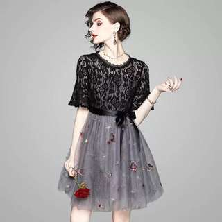 Embroidered stars and sequined lace mesh dress