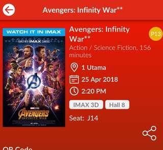 Avengers infinity war IMAX 3D 25th April 1 Utama 2:20 pm