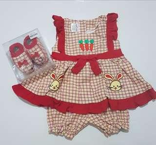 ( New ) 1 Set dress ( 24 M ) + Celana + Sepatu Usia ( 12 - 18 )