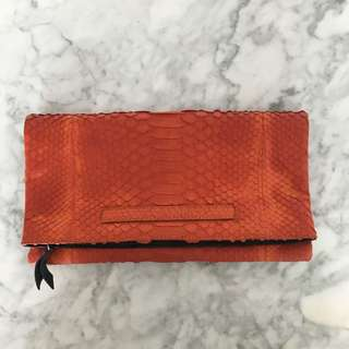 Snakesin Leather Clutch In Orange-Black