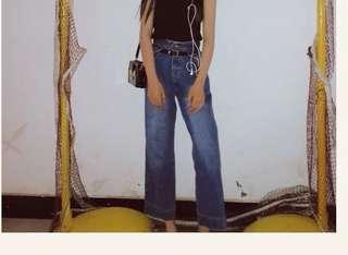 復古深藍色寬褲(1.2張圖為實拍)
