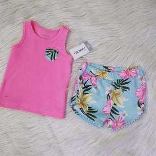 MAY2018 : CARTERS PINK HALTER TOP & FLORAL SHORTS W/ POMPOM