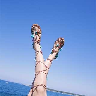 【嫻仔売】夏日繽紛羅馬綁帶涼鞋