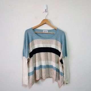 配色橫條連袖針織毛衣