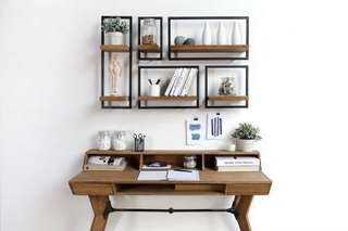 Minimalist Reclaimed Teak Wood Floating Shelf Set by ShelfMate by D'Bhodi Design