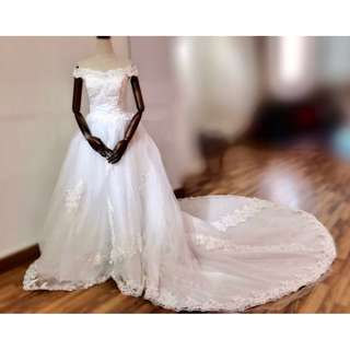 White, trailing wedding gown (Used)