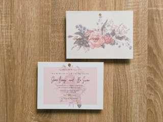 Beautiful pastel floral wedding invitation