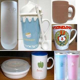 🚚 磨砂玻璃杯水杯、誠品還原燒質樸馬克杯湯杯麥片杯、聖誕咖啡杯陶瓷杯、附蓋微波保鮮碗杯組、冰淇淋造型杯、雙層隨行杯保溫杯