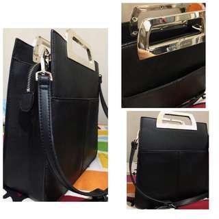 Charles & Keith Metallic Handle Tote Bag Black