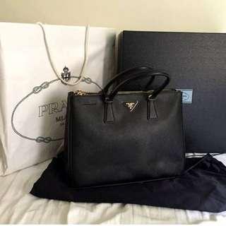 Prada Lux Large Double Zip Saffiano Bag