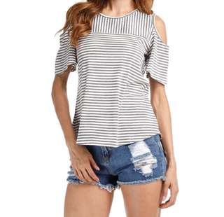 (SALE) Grey & White Striped T-Shirt with Back Slit