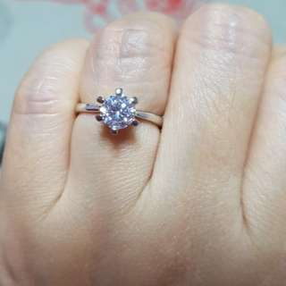 CZ Diamond Solitaire Ring (equivalent 1 Carat) 💍
