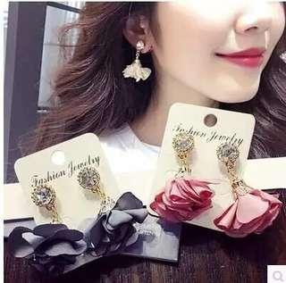 新品2018浪漫雪紡布耳環女時尚甜美浪漫花朵粉色長款耳墜耳飾品