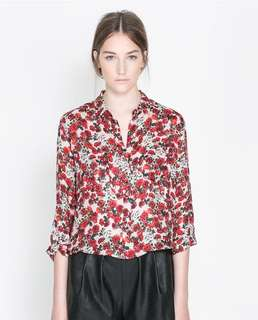 Zara 100% silk blouse