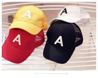 預購「兒童防曬必備字母A棒球網帽帽子童帽」