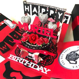 Happy birthday Explosion Box card in red and black bling