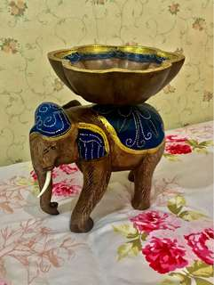 Handpainted Elephant Wood Items Holder