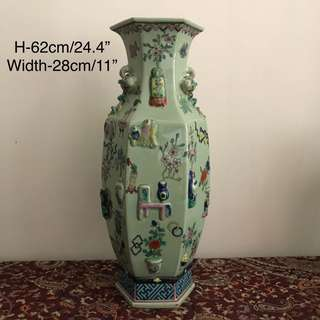 A large exceptional green Glazed hexagon vase
