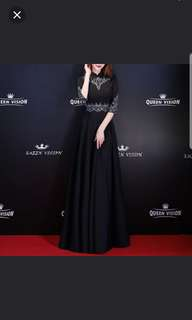 Black 3/4 sleeve embroidery Long Dress / evening gown
