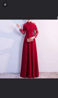 Red long sleeve Dress / evening gown