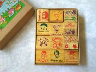 Set of 16 wooden stamps for marking