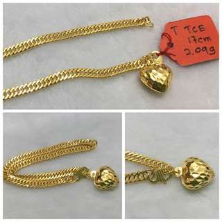 916 Gold Bracelet with Love charm (17cm)