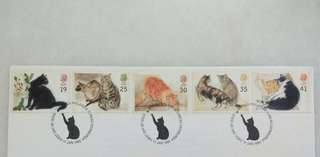 Great Britain UK England Cats Stamps & Special Postmark #1