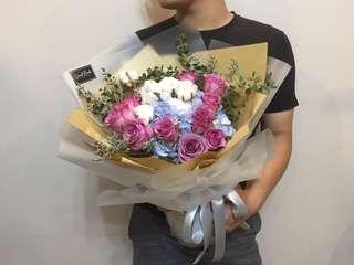 Rose cotton bouquet