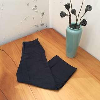藏青色直筒寬褲