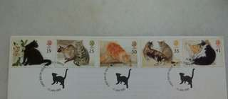 Great Britain UK England Cats Stamps & Special Postmark #