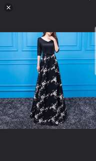 Black floral 3/4 sleeve Dress / evening gown