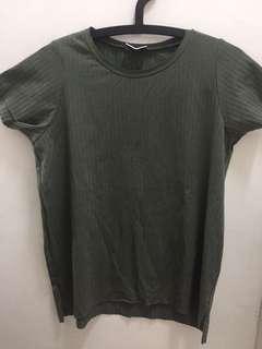 Olive Green Short-sleeved Ribbed-ish Top