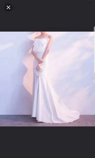 Ribbon white draggy dress / evening dress / Wedding Dress