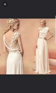 White low back dress / evening dress / Wedding Gown