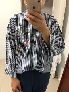 韓版刺繡花襯衫