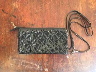 Black Clutch with Attachable Strap (Sling Bag)