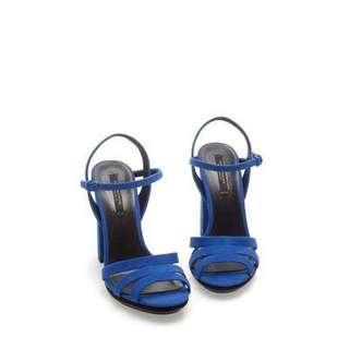 New zara cobalt blue heel sandals