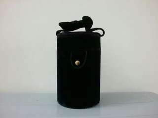 Black Velvet Cylinder shape Cosmetic Bag
