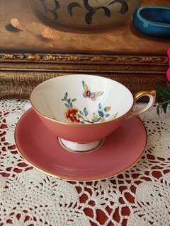 Aynsley Pink Tea Cup and Saucer with Flowers and 🦋