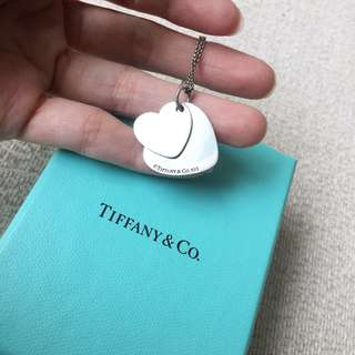AUTHENTIC TIFFANY & CO Double Heart Tag Necklace