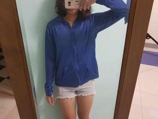 藍色微透膚薄外套