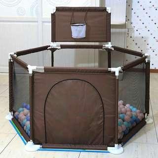 playpen with basketball