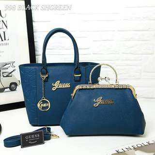 Guess Tote Bag 2 in 1 Blue Color