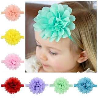 Instock - chiffon flower headband, baby infant toddler girl children cute glad 123456789 lalalala