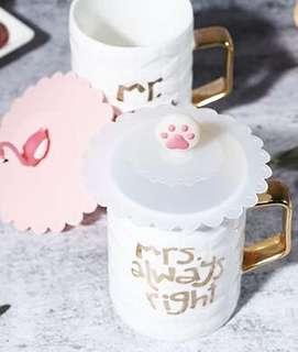 防塵杯蓋 環保 貓掌造型 櫻花 粉紅控 辦公室必備 杯蓋