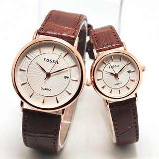 jam tangan fossil kulit sepasang